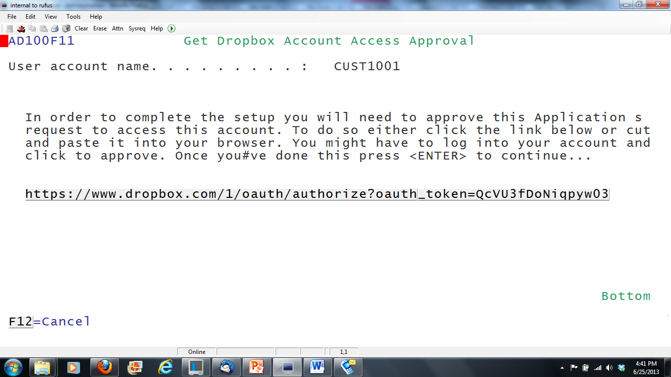 Authorize IBM i to Dropbox account